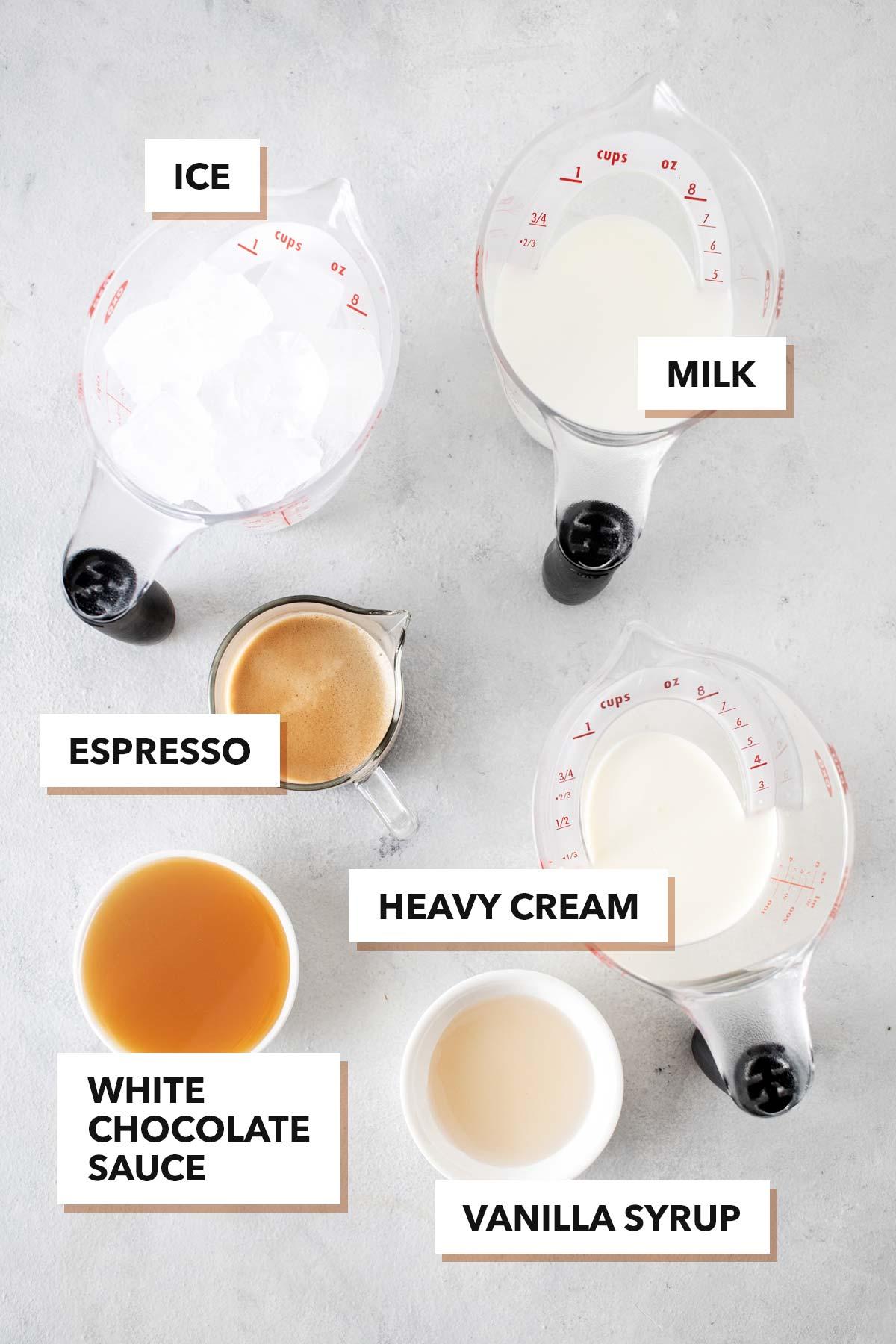 Iced White Chocolate Mocha ingredients.