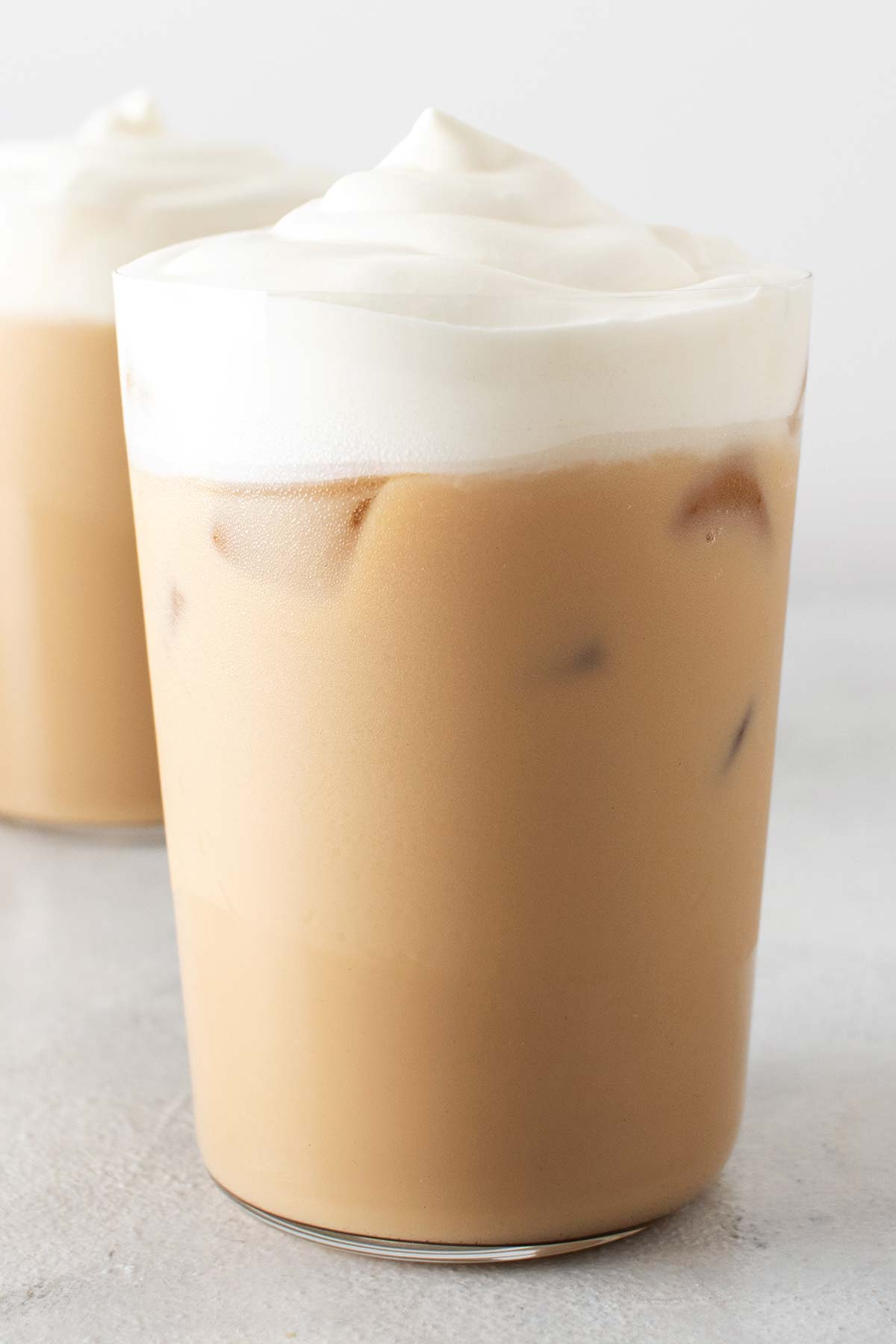 Iced White Chocolate Mocha drinks in cups with whipped cream.