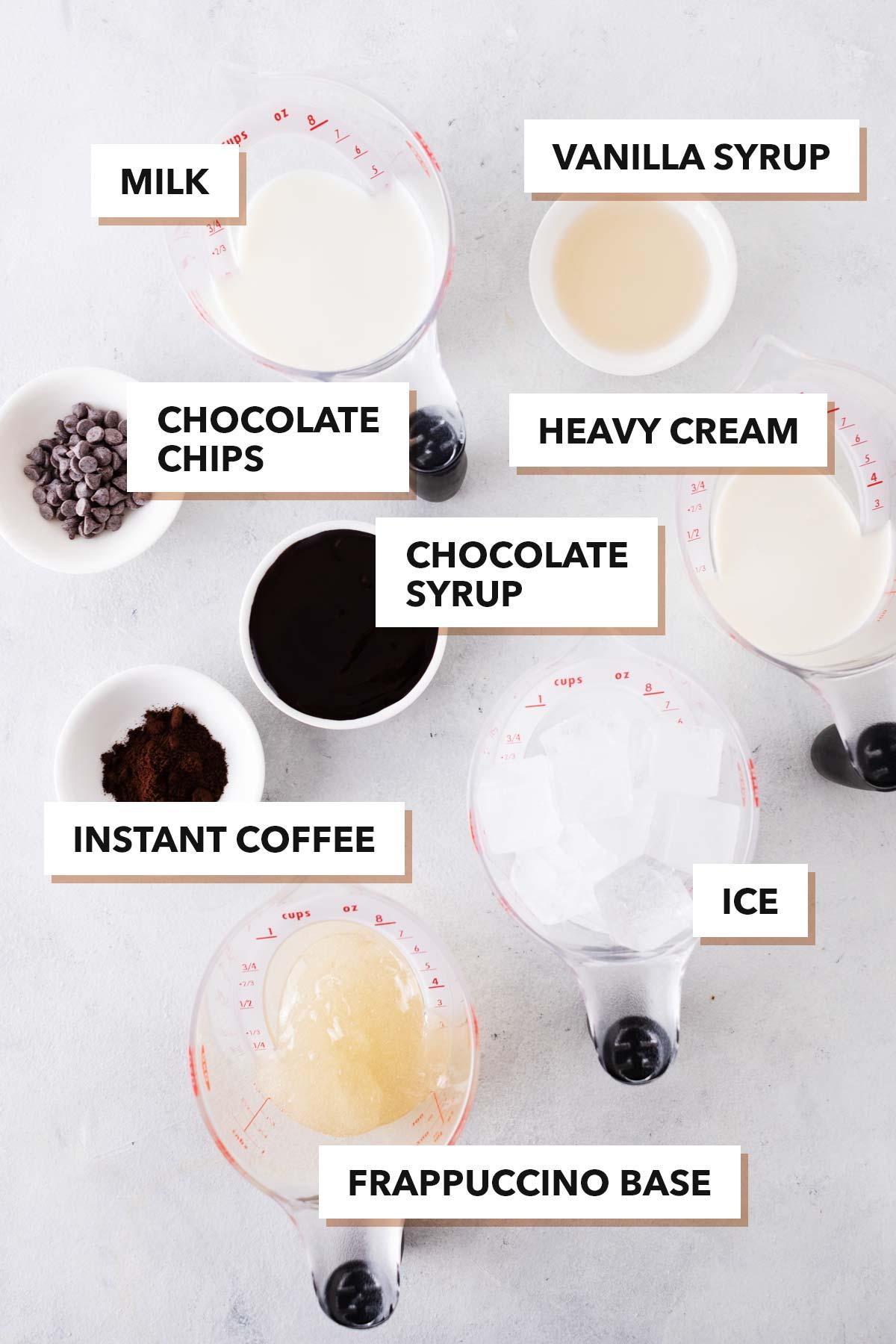 Starbucks Java Chip Frappuccino copycat recipe ingredients.