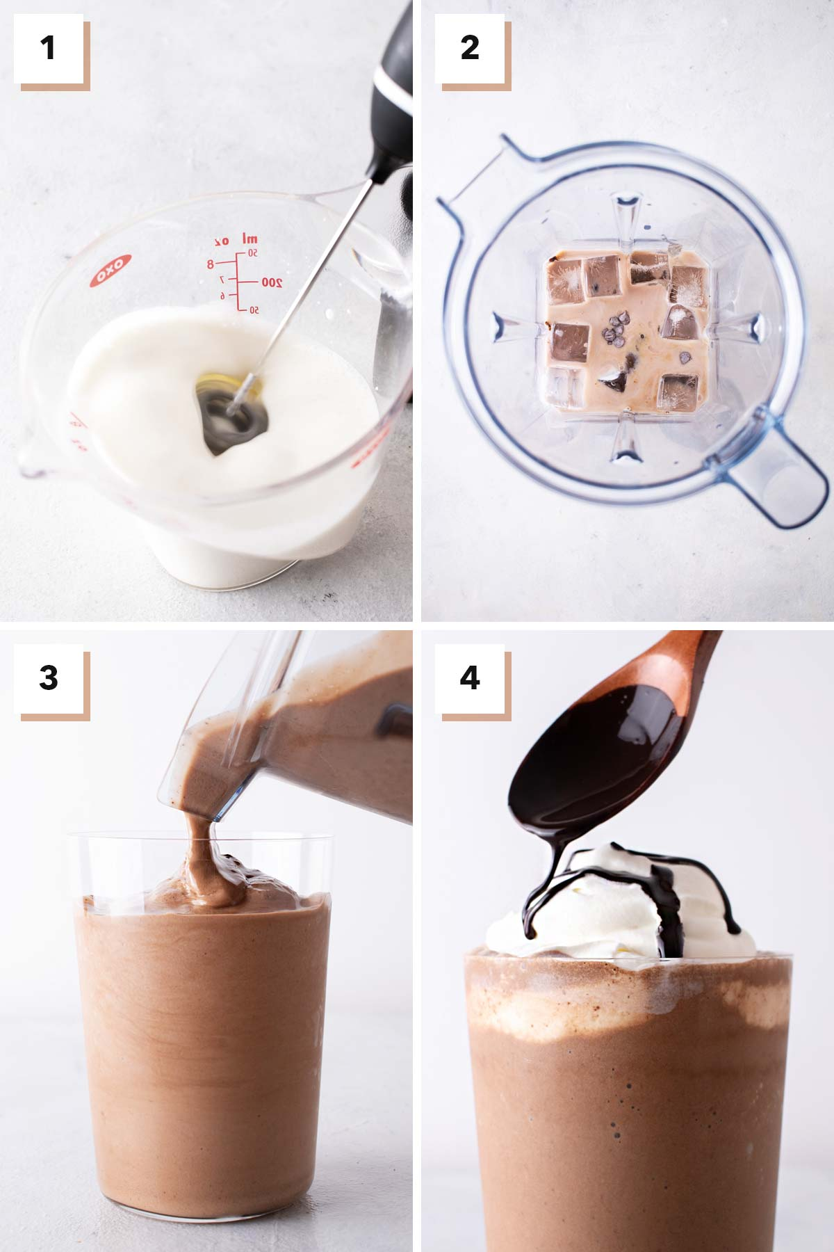 Four photo collage showing steps to make a Java Chip Frappuccino.