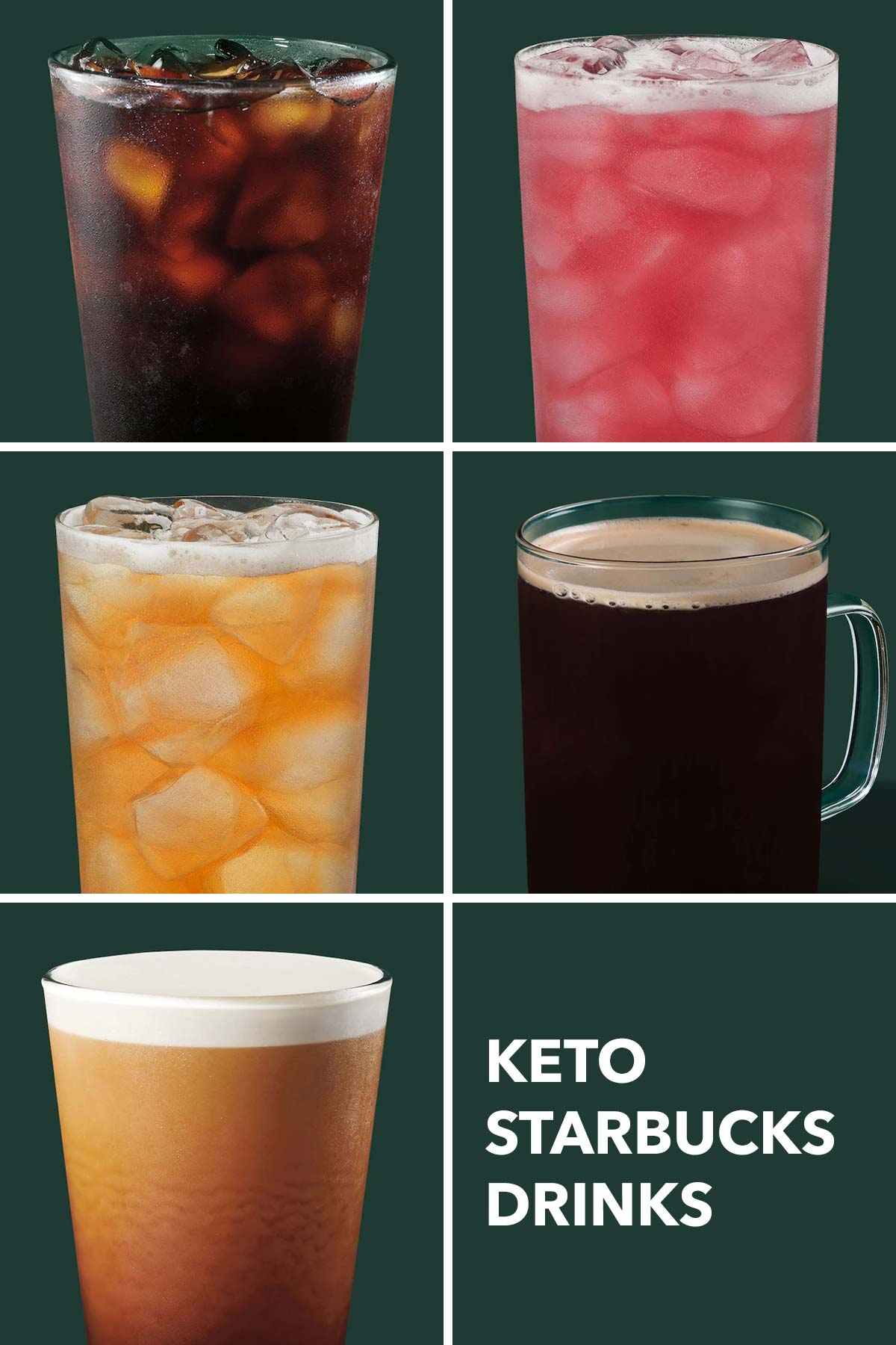 Six photo grid showing five Keto drinks to get at Starbucks.