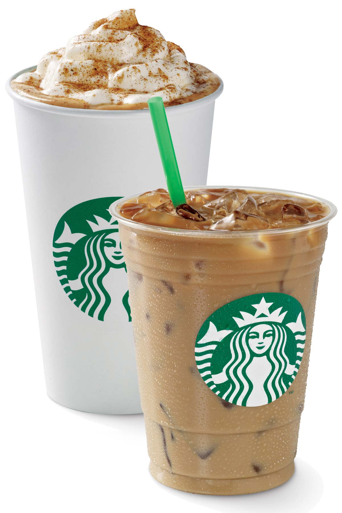 Two Starbucks drinks, one hot and one iced.