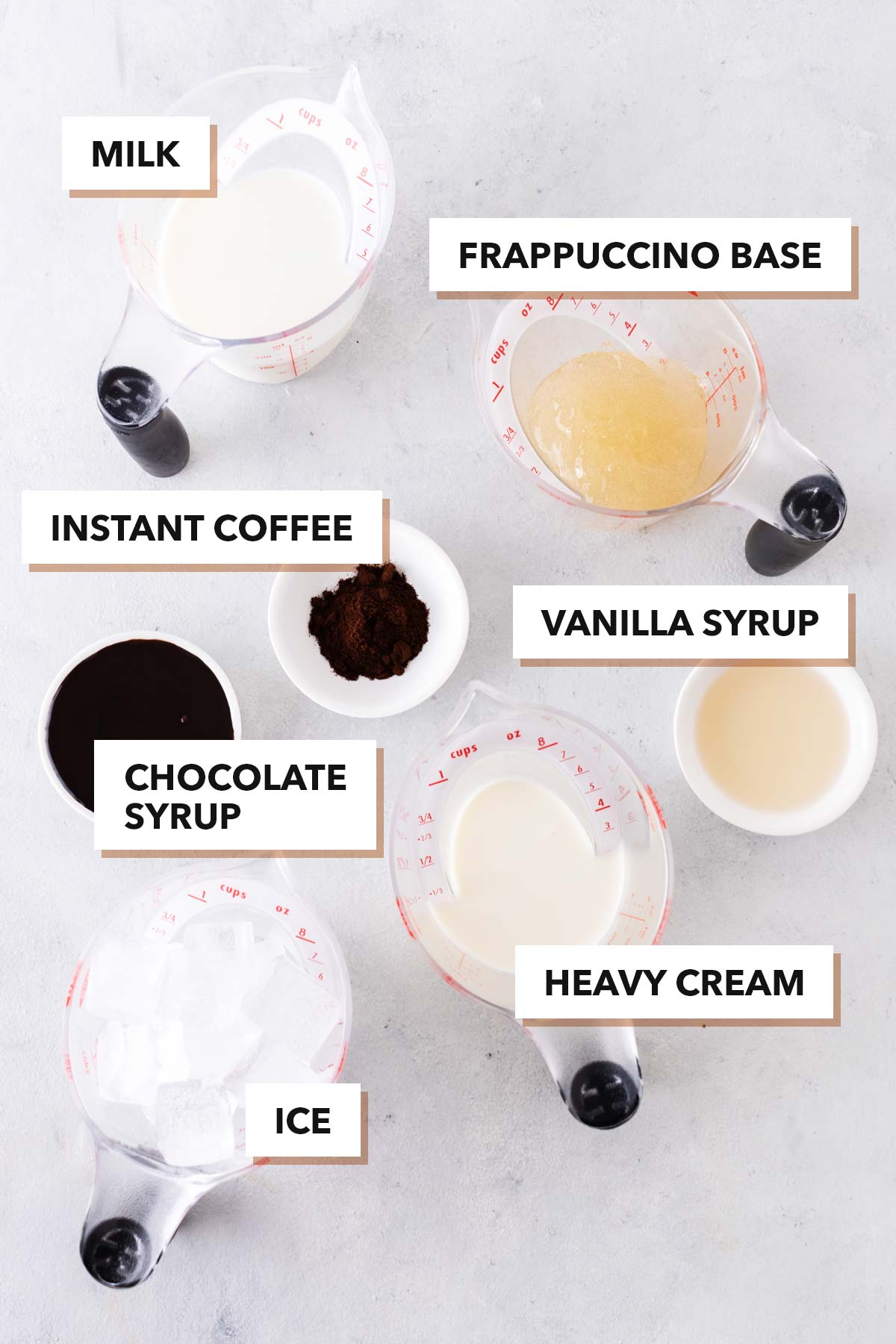 Mocha Frappuccino ingredients.