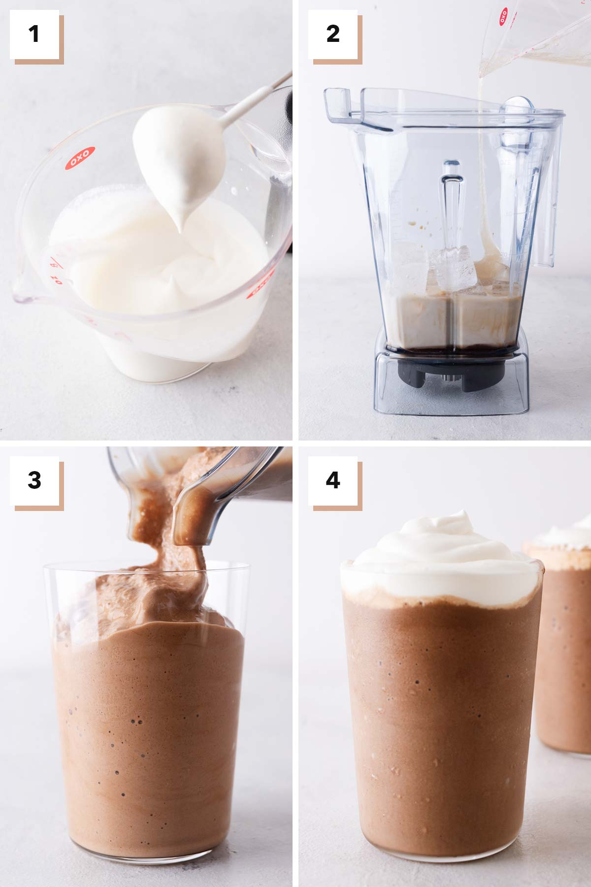 Four photo collage with steps to make Mocha Frappuccino.