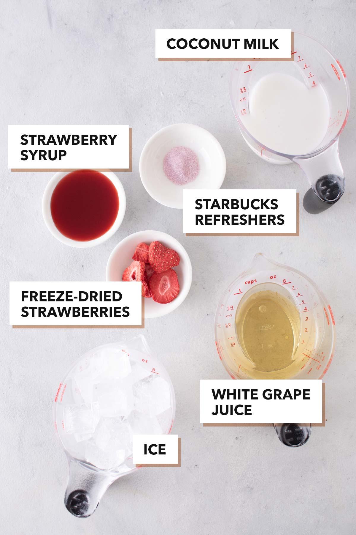 Starbucks Pink Drink copycat recipe ingredients.