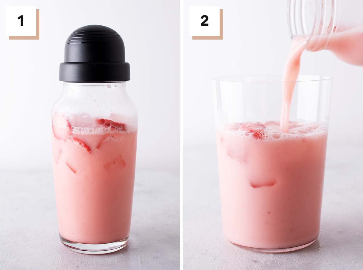 Two photo collage showing steps to make the Starbucks Pink Drink at home.