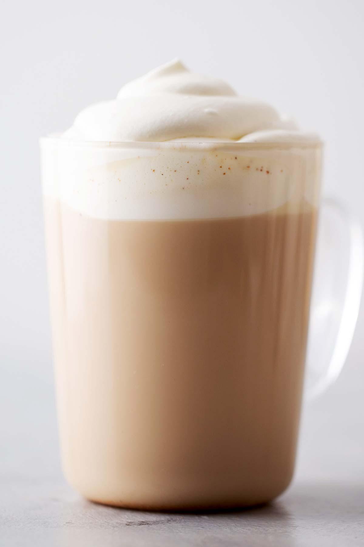 Starbucks Pumpkin Spice Latte copycat drink with whipped cream.