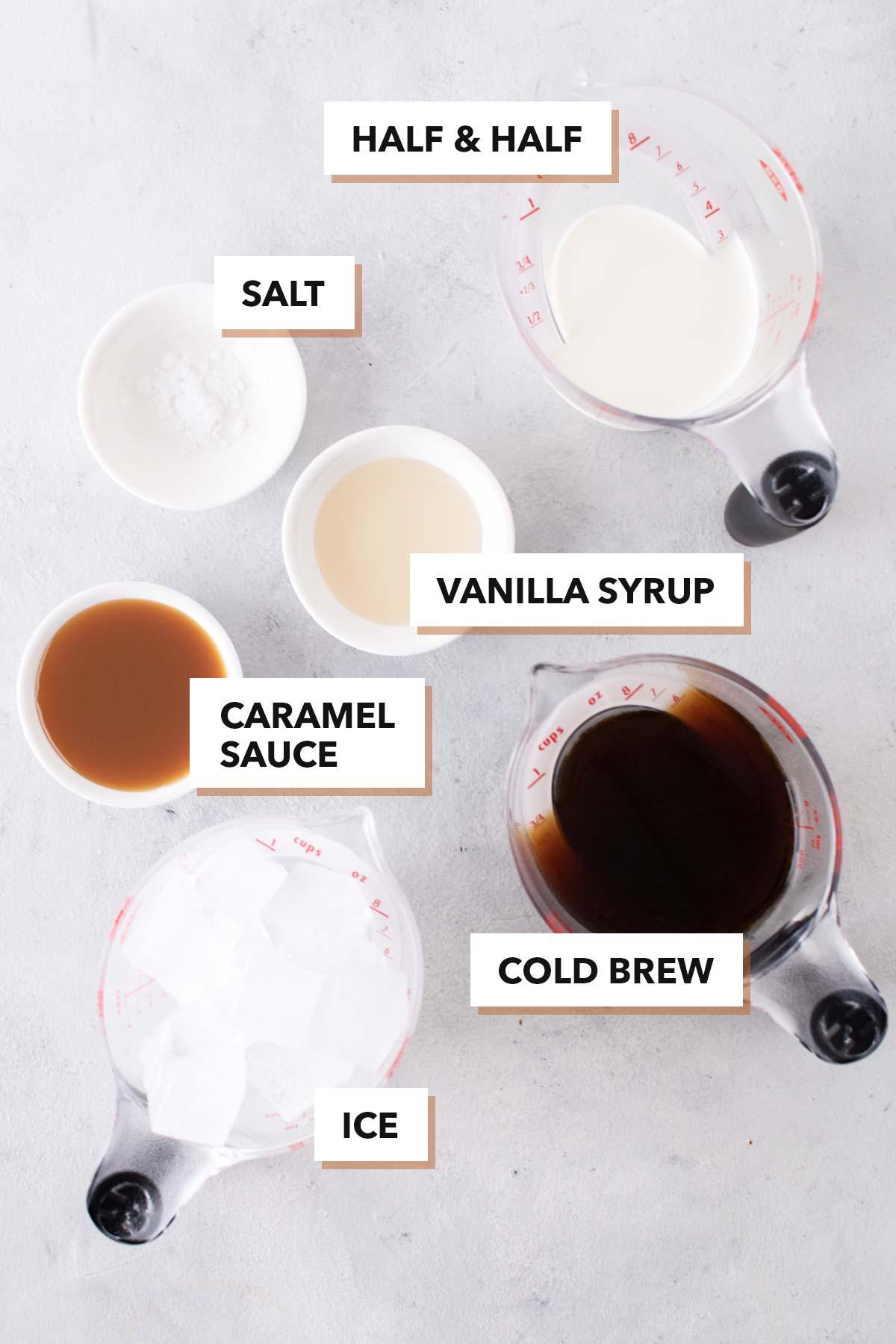 Starbucks Salted Caramel Cream Cold Brew copycat recipe ingredients.