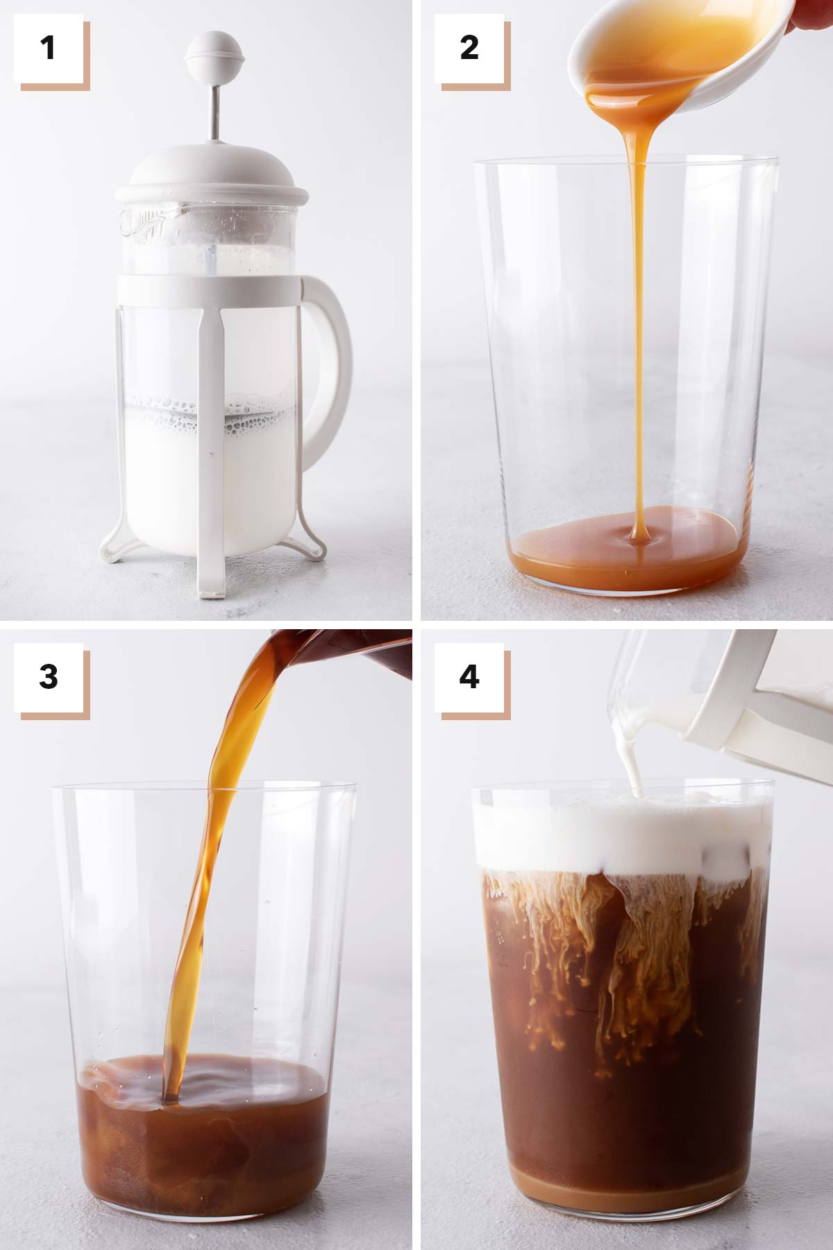 Four photo collage showing steps to make Starbucks Salted Caramel Cream Cold Brew.