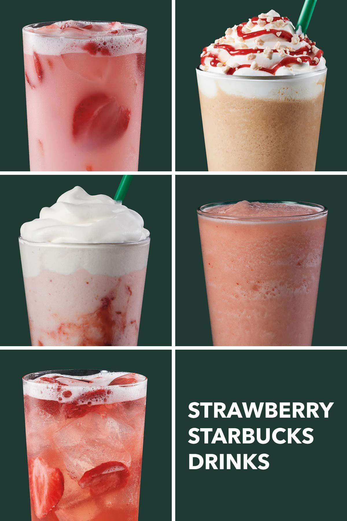 Six photo grid showing five Starbucks strawberry drinks.