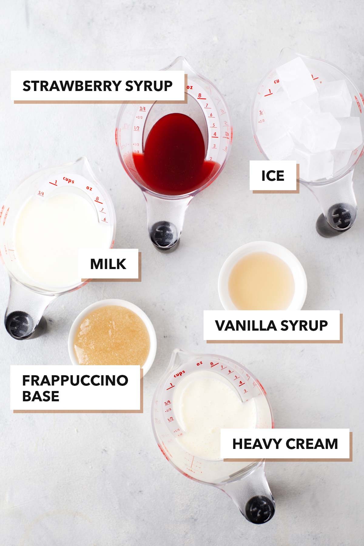 Starbucks Strawberry Frappuccino copycat recipe ingredients.