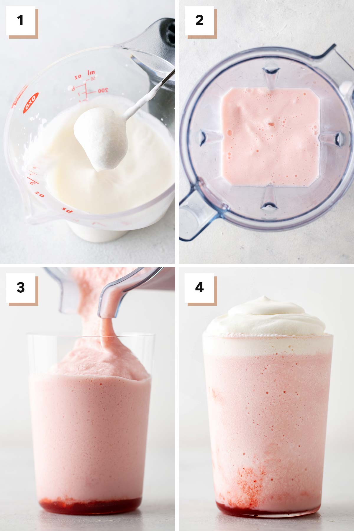 Four photo collage showing steps to make a Strawberry Frappuccino.