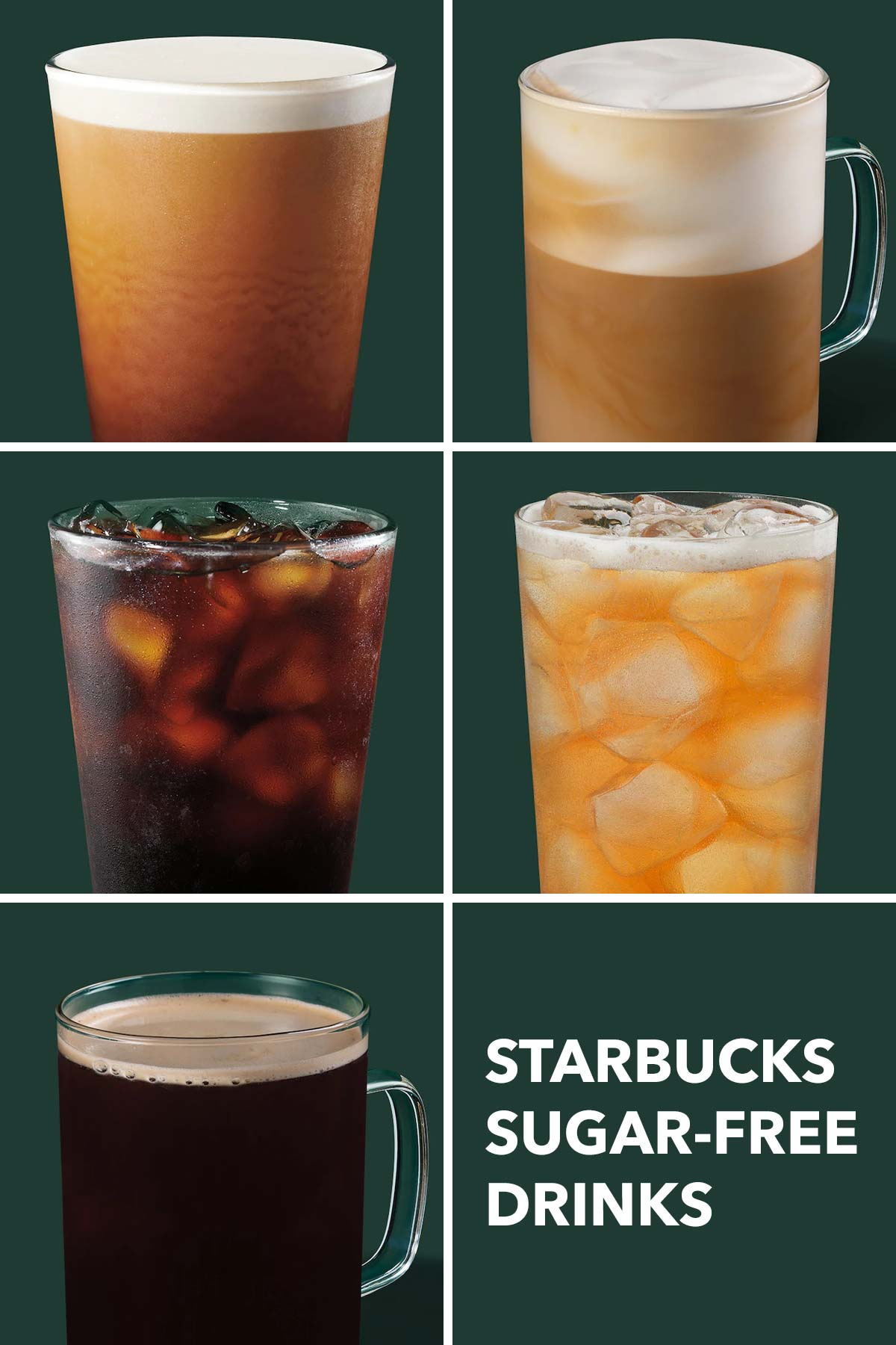 Six grid collage showing 5 different Starbucks sugar-free drinks.