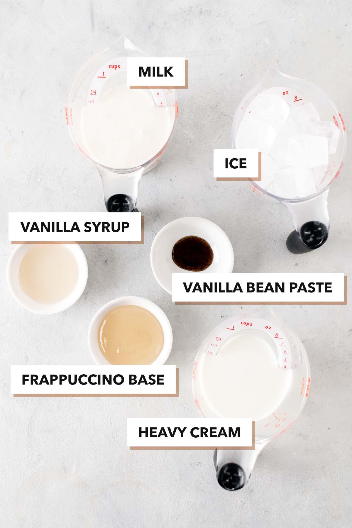 Vanilla Bean Frappuccino ingredients.