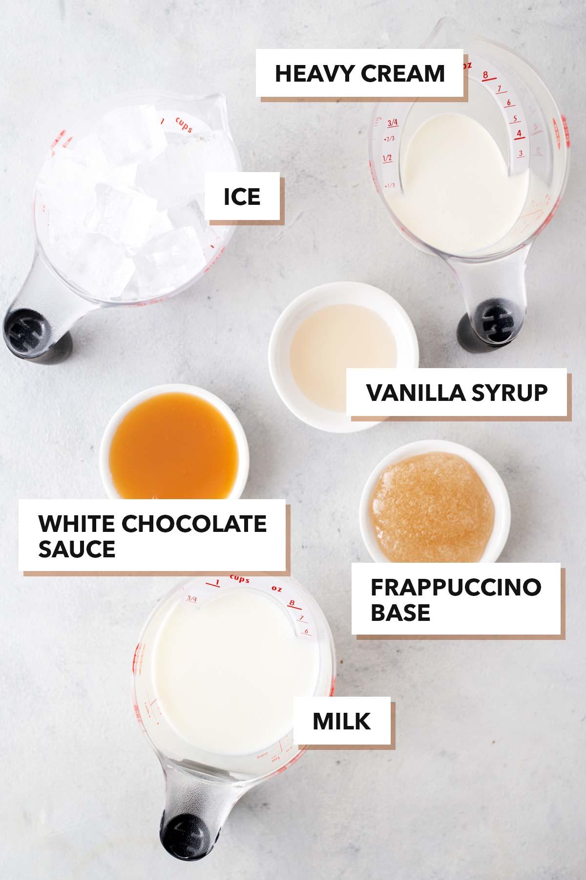 Starbucks White Chocolate Frappuccino copycat recipe ingredients.