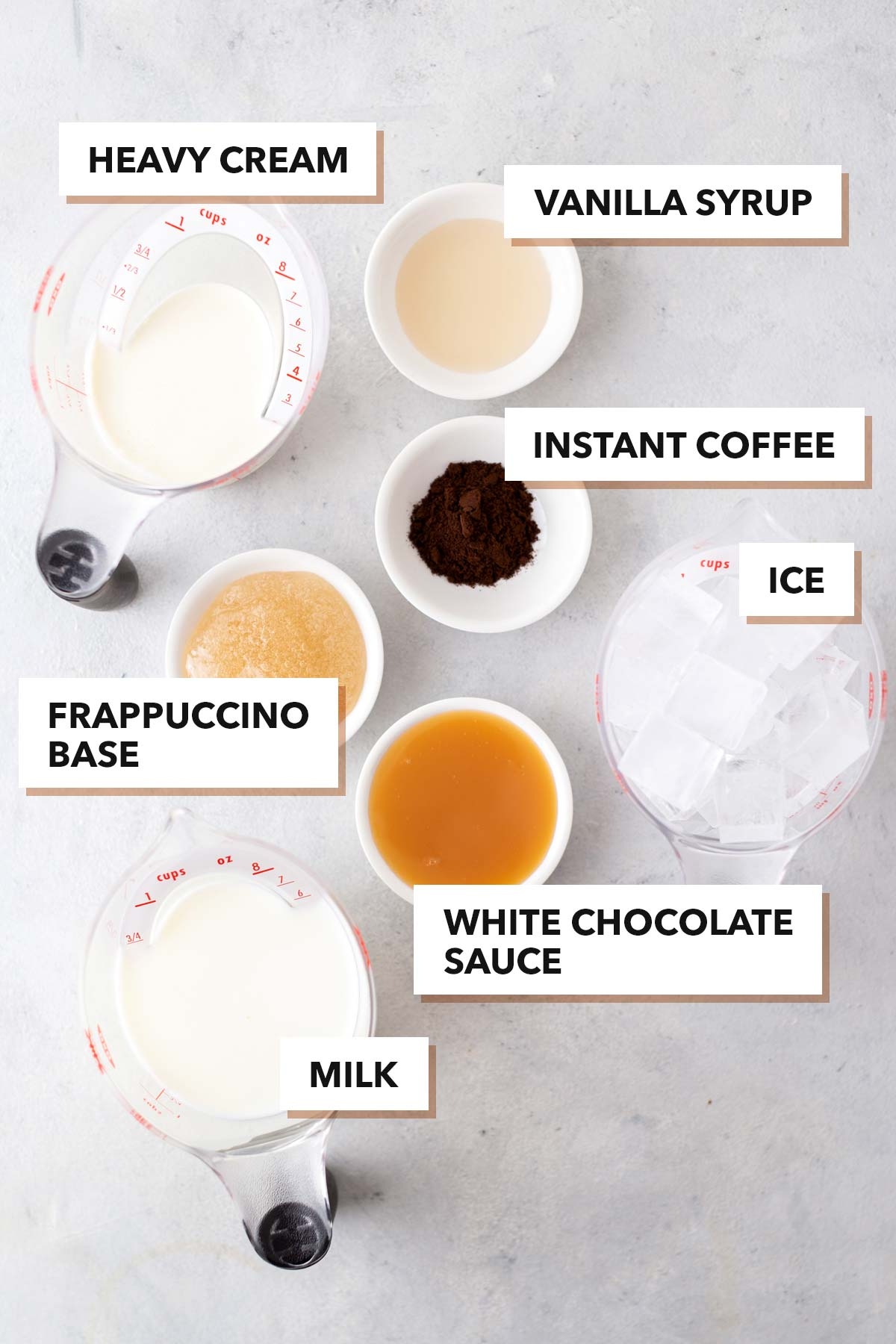 White Chocolate Mocha Frappuccino ingredients.