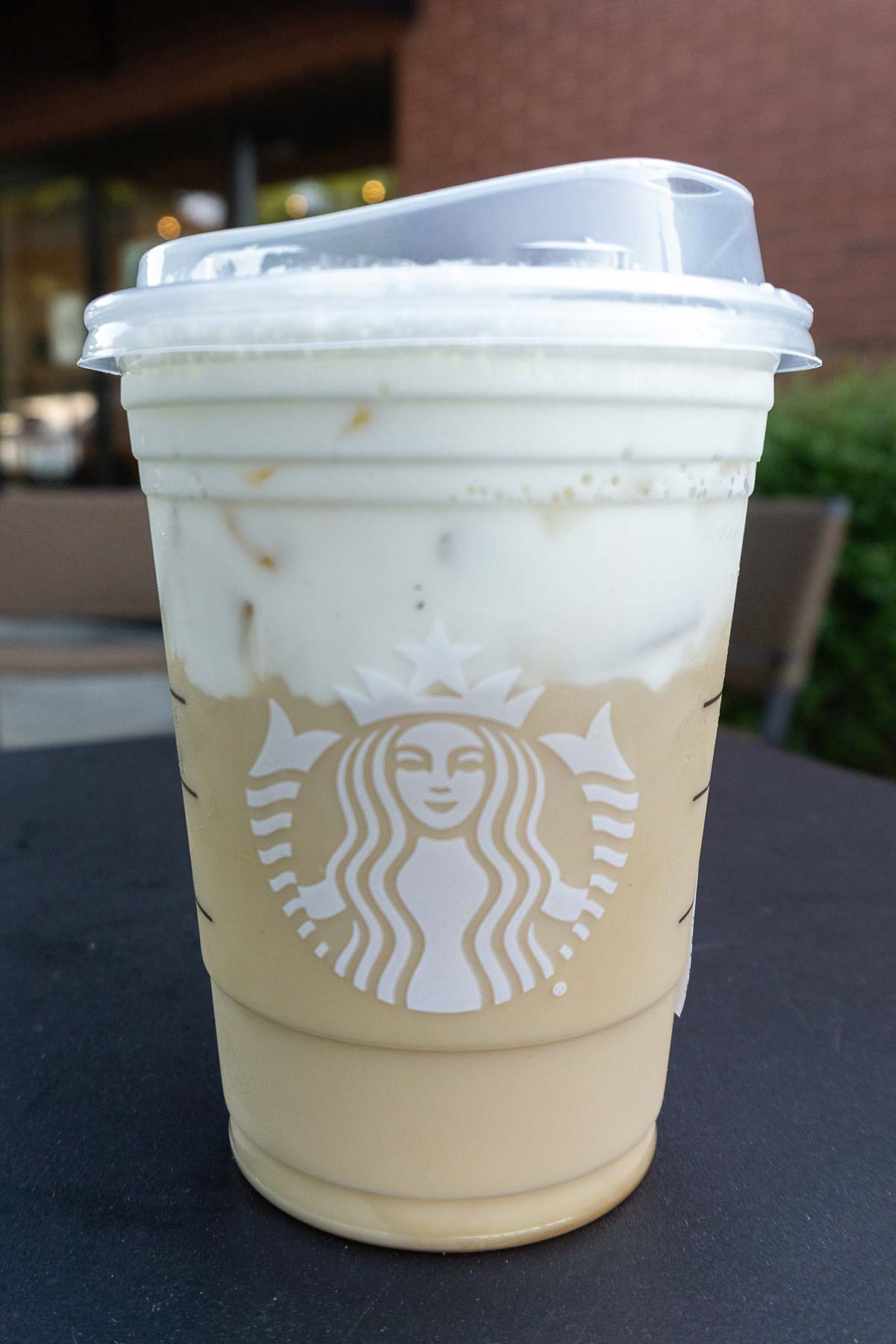 TikTok Iced Chai Latte in a plastic cup.