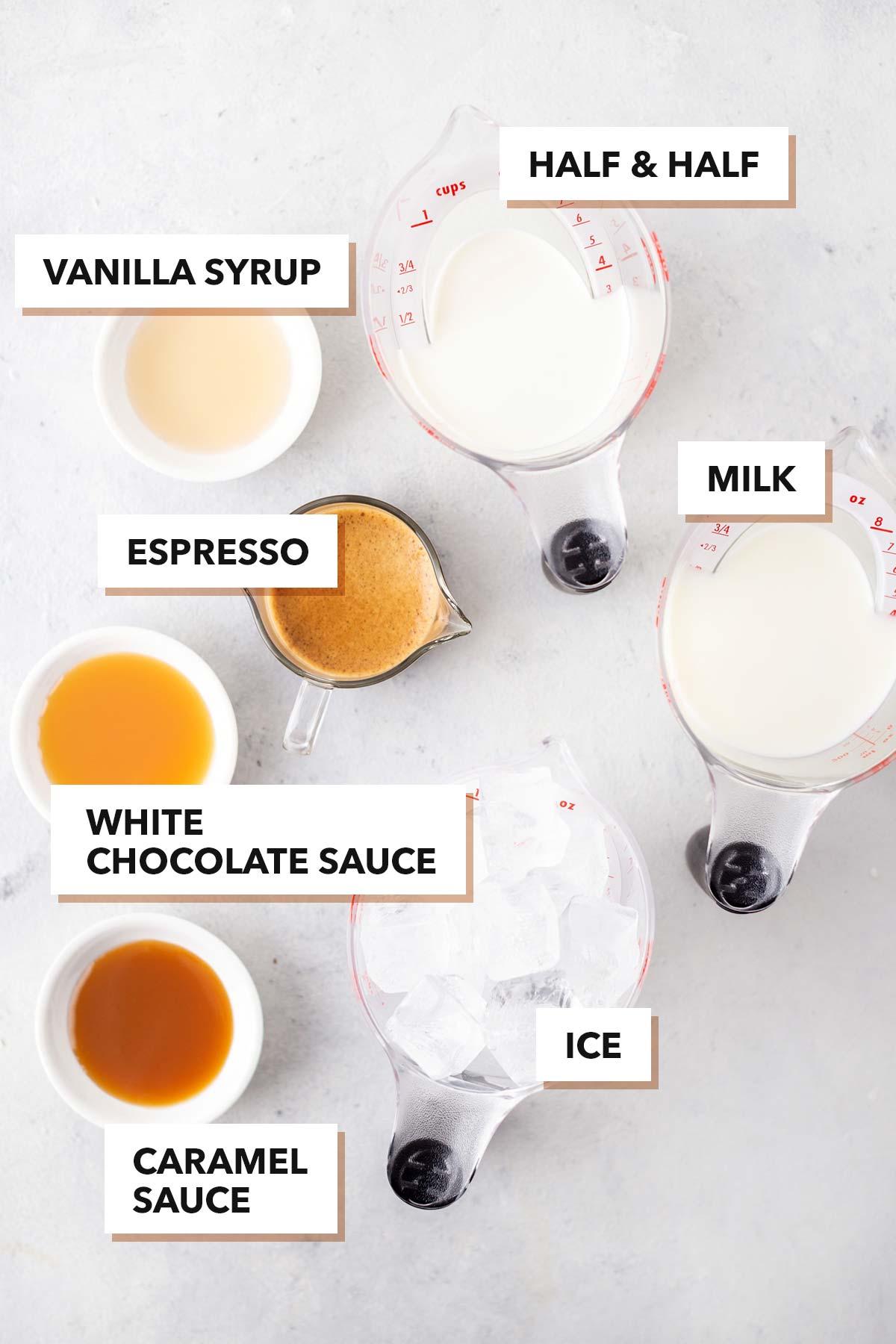 TikTok Starbucks Iced White Mocha copycat recipe ingredients.