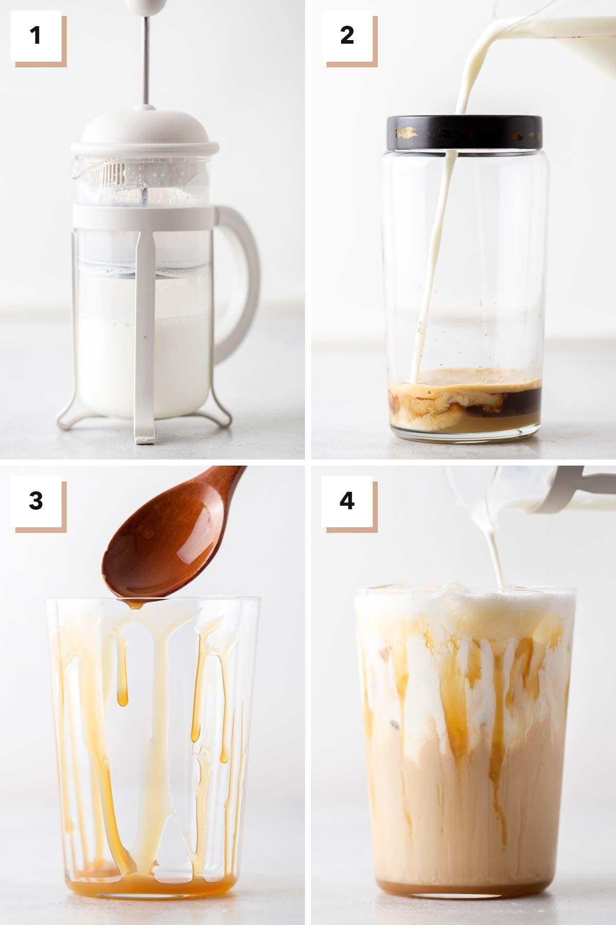 Four photo collage showing steps to make TikTok Starbucks Iced White Mocha.