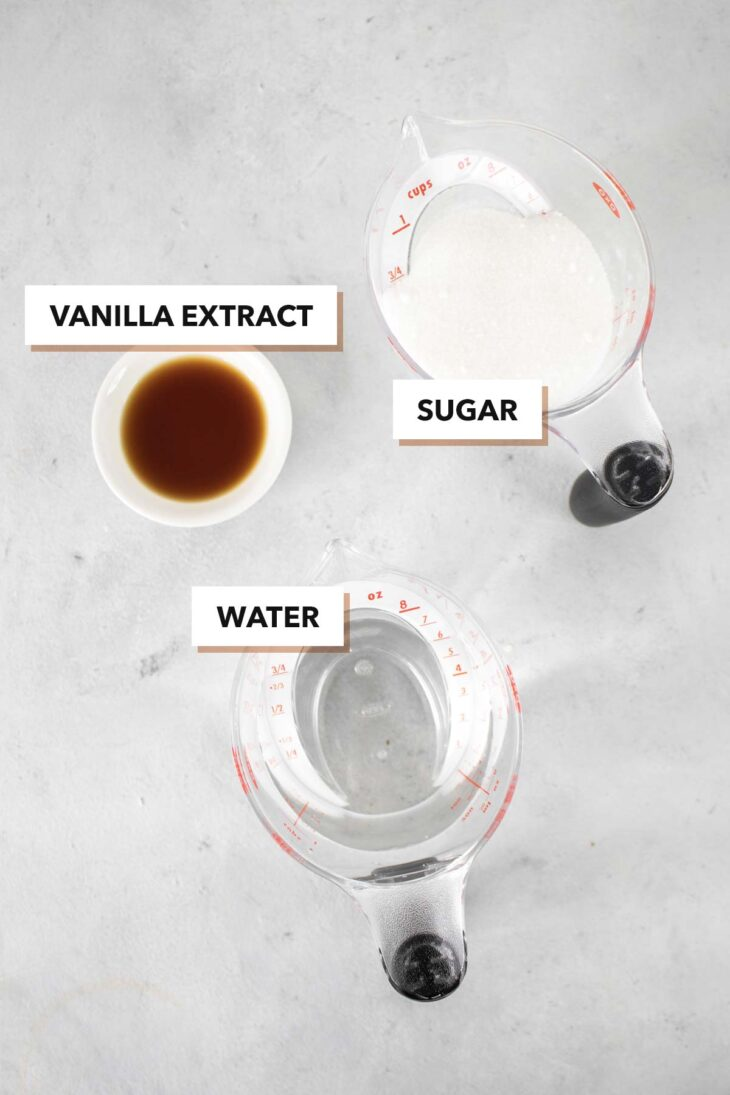 Vanilla simple syrup ingredients.