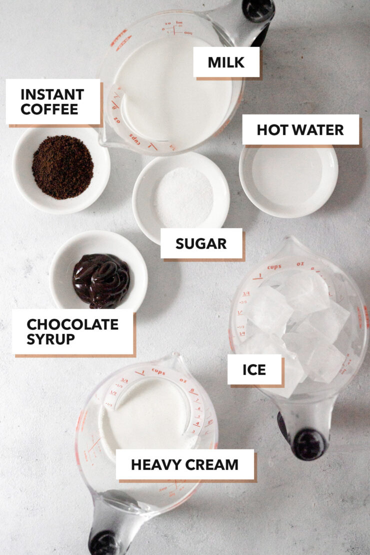 Whipped mocha ingredients.
