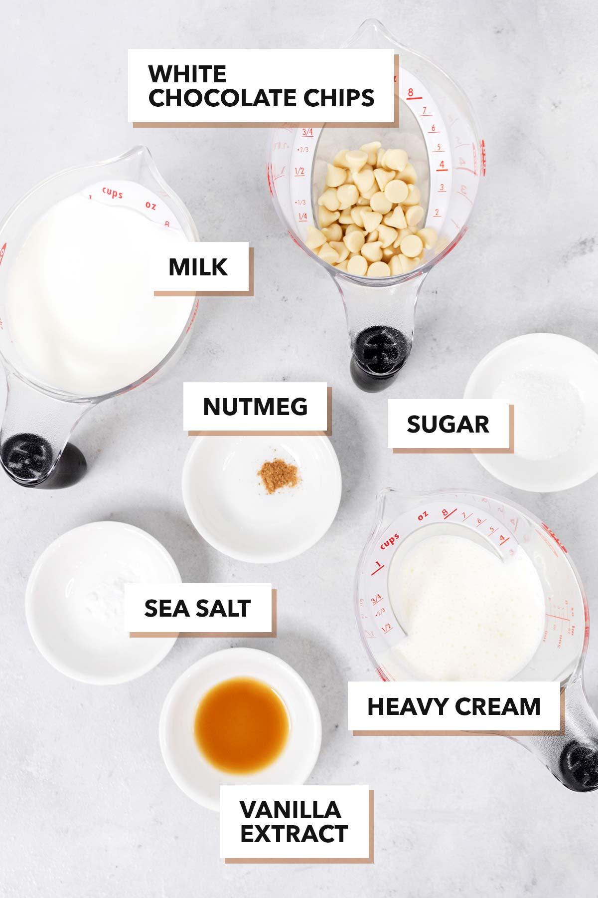 White hot chocolate ingredients.