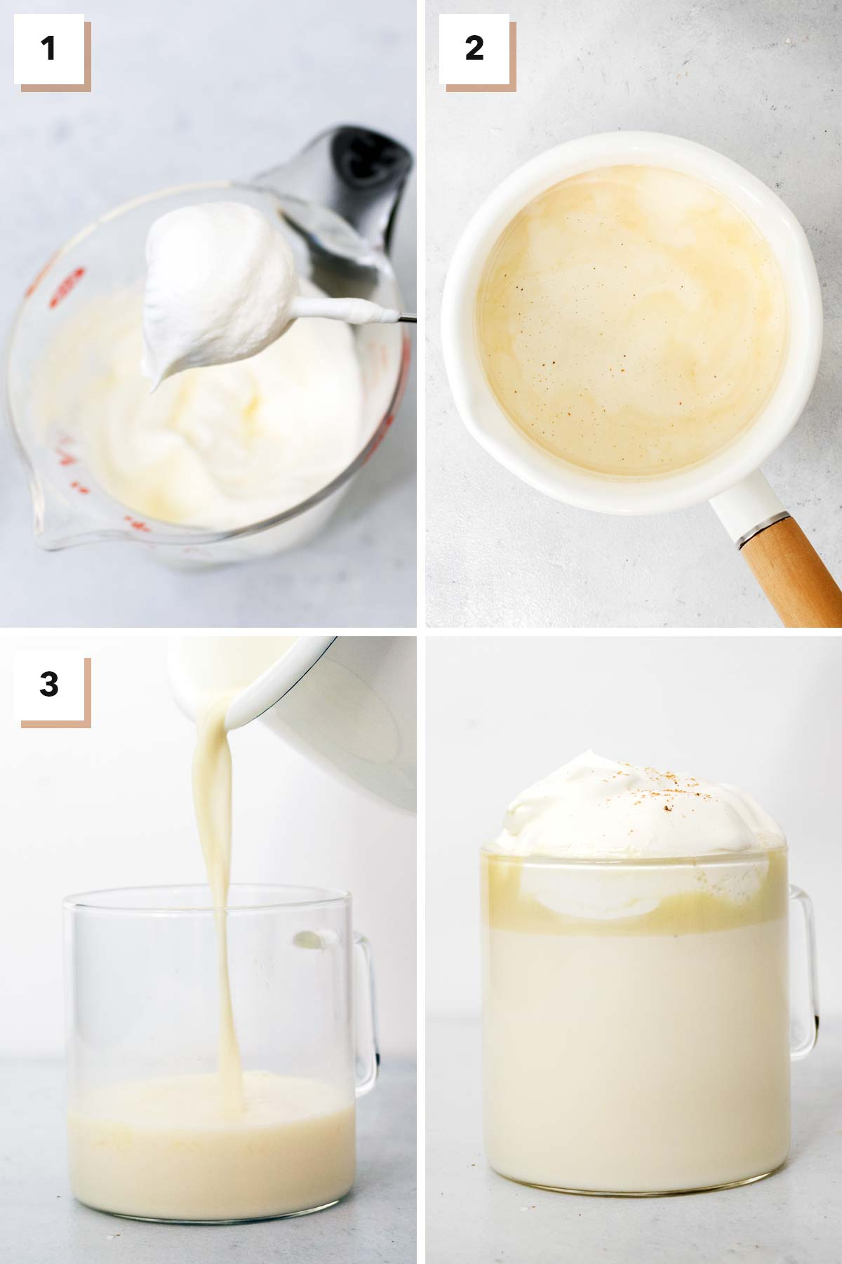 Four photo collage showing steps to make white hot chocolate.